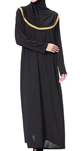 Musulmano Oro Coolred donne Alto Medio Collo Lungo Veste Assetto Cuciture Arabo Oriente PSwSqRB6