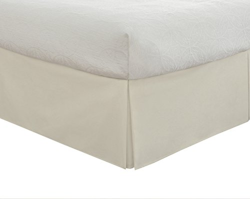 "Lux Hotel Bedding Tailored Bed Skirt, Classic 14"" Drop Length, Pleated Styling, King, Ivory (Sag Quilt)"