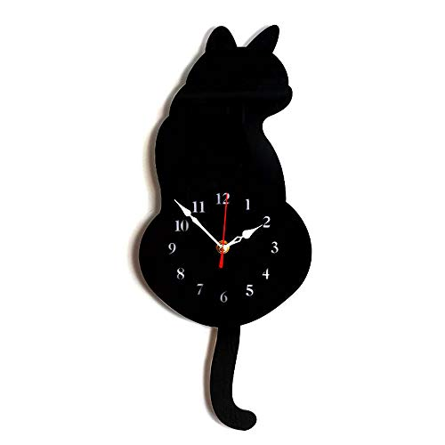 (GerTong 1PCS Wall Clock Creative Cartoon Cat Acrylic Wall Clock with Swing Tail Move Silence Pendulum for Living Room Bedroom Kitchen Home Décor)