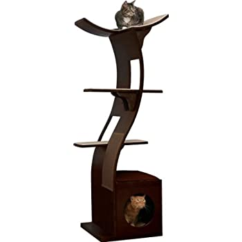 Amazon.com : The Refined Feline Lotus Cat Tower in Espresso : Cat ...