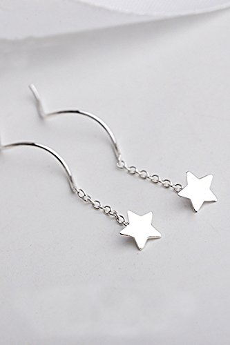 Thai Love You Pentagram Ear Wire Earrings earings Dangler Eardrop Unique Stars Streamline s925 Silver Jewelry Earrings Elegant Women Girls by KGELE Earrings