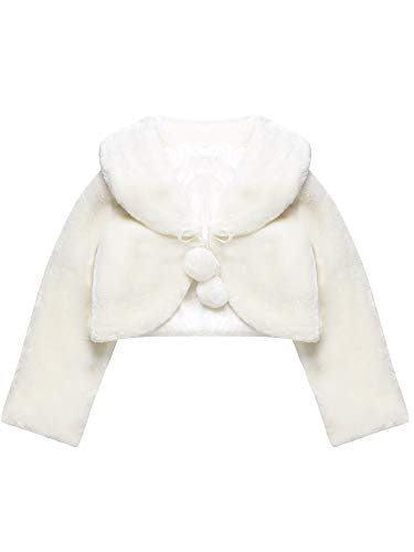 Blulu White Girls Princess Faux Fur Wraps Shawl Flower Girls Bolero Shrug Accessories Princess Cape Party Wedding Dress Up (M, 4Y - 7Y) -
