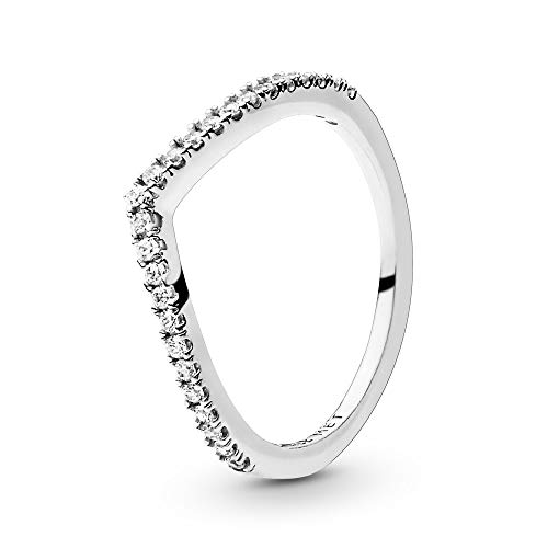 Pandora Jewelry - Sparkling Wishbone Ring for Women in Sterling Silver with Clear Cubic Zirconia, Size 9 US / 60 EURO (Best Engagement Rings 2019)