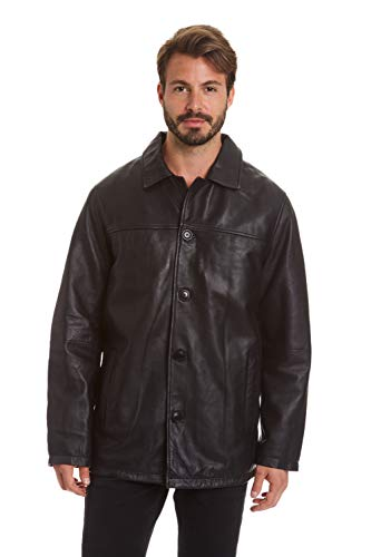 Excelled Men's Big and Tall Four-Button Lambskin Leather Car Coat, Black, 3XL