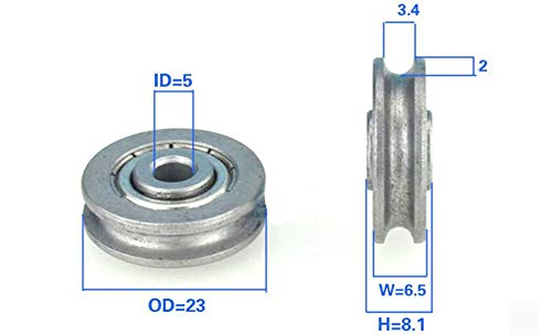 VXB Brand 5mm Bore Bearing with 23mm Pulley U Groove Track Roller