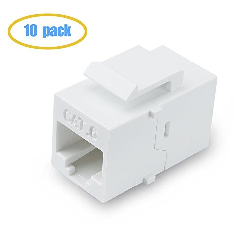 VICTEK Female to Female Cat6 Keystone  RJ45 Couplers, 10 Pack, White (Cat5 Wiring Panel Patch)