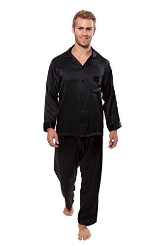 Men's 100% Silk Pajama Set - Luxury Nightwear Pajamas by TexereSilk (Milaroma, Black, Large) Best Pyjamas for Father Brother Son Nephew Boyfriend MS0001-BLK-L by TexereSilk