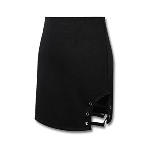 Hongma Jupe Courte Femme Sexy Creux Noir Et Zip