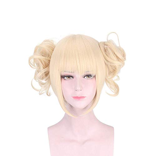 HANCYLILY Cosplay Wig Synthetic Anime Wig with Blonde Ponytail for My Hero Academia Himiko Toga -