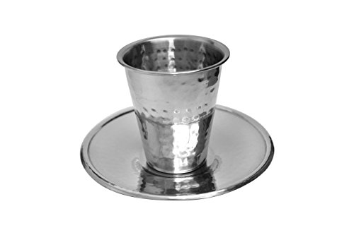 (Majestic Giftware SSKC15 Stainless Steel Kiddush Cup with Saucer, 3-Inch)