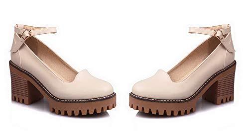 Femme Unie Couleur L Rond Chaussures Agoolar Boucle vf0wBwq
