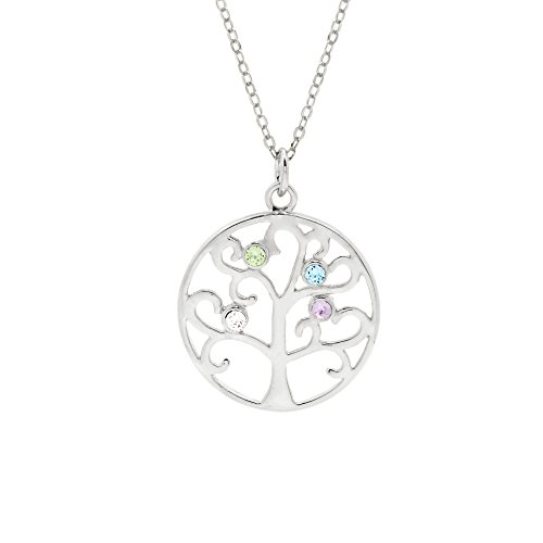 "Sterling Silver Custom 4 Stone Simulated Birthstone Family Tree Pendant (16"" or 18"")"