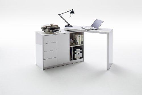 MARTIN 2 in 1 Home Office Desk - Space saving desk and sideboard combination - Modern White High Gloss finish swivel desk