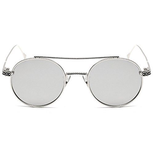 women Lente redondas de Plateado metal sol Gafas delgada Inlefen Lente Blanco de Espejo Men UV400 PBqw5aX