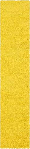 Unique Loom Solo Solid Shag Collection Modern Plush Tuscan Sun Yellow Runner Rug (2' 6 x 13' 0) (Carpet Yellow Runner)