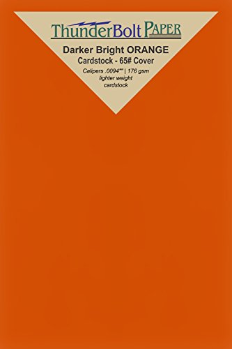 125 Bright Darker Orange Color Cover/Card Paper Sheets - 4 X 6 Inches Photo, Card, Frame Size - 65# (65 lb/pound) Light Weight Cardstock - Quality Printable Smooth Paper (Halloween Decorations Using Toilet Paper Rolls)