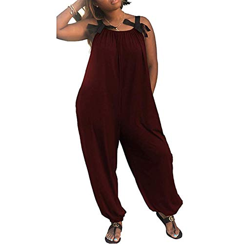 WISHU Women Casual Solid Color Loose Fit Baggy Harem Overall Jumpsuit Sleeveless Spaghetti Strap Rompers (Wine Red, XL) from WISHU