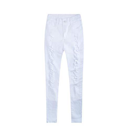 Skinny Strappati Jeans Slim Leggings Denim Matita Pantaloni A Donna Bianco Multicolore Vita Alta Lunghi Aderenti Di pwzR0wxgq