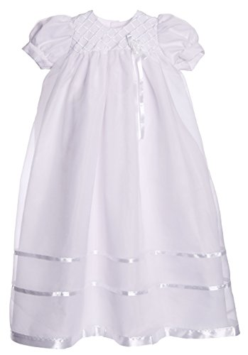 Long White Embroidered Organza Christening Baptism Gown with Bonnet - L (9-12 Month)