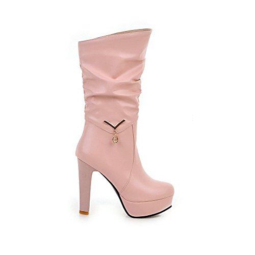 AllhqFashion Damen PU Leder Hoher Absatz Rein Ziehen auf Stiefel, Pink, 36