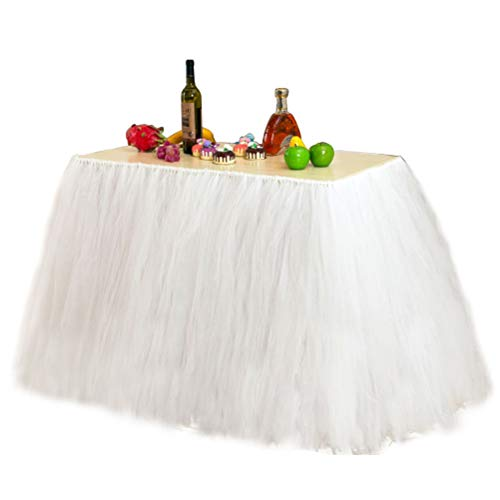 (Fit Design Romantic TUTU Table Skirt Tulle Tableware Queen Wonderland Table Cloth Skirting for Girl Princess Party Wedding Christmas Baby Shower Birthday Cake Table Decoration(1Yard,White))