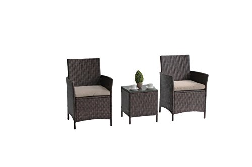 UNITED FLAME 3PCS WICKER RATTAN OUTDOOR INDOOR GARDEN PATIO CONSERVATORY BISTRO FURNITURE SET-HELSINKI RATTAN CAFÉ SET ONE TABLE AND TWO CHAIRS (Cushions Rattan Furniture Conservatory)