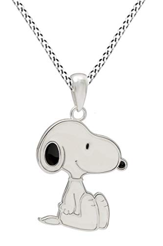 AFFY Snoopy White & Black Enamel Sterling Silver Pendant Necklace]()