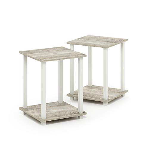 Furinno Simplistic End Table, Sonoma Oak/White (Bedroom Sets Furniture White Oak)