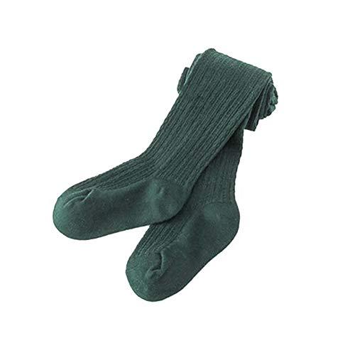 Trenton Girls Tights, Baby Toddler Kids Cotton Pantyhose Dance Long Socks Stockings Leggings Dark Green 95cm