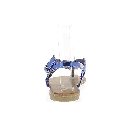 Aspetto blu a piedi nudi in pelle intrecciata a flange