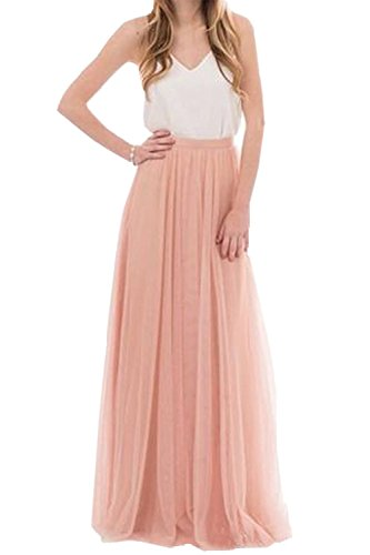 Omelas Womens Long Floor Length Tulle Skirt High Waisted Maxi Tutu Party Dress (Blush, L)