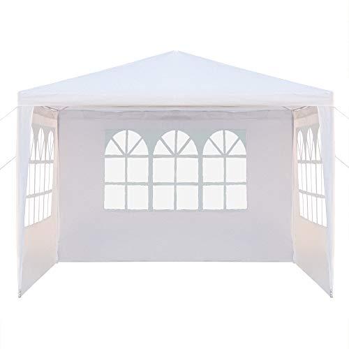 Taihelian Canopy Windows Waterproof Foldable Party Wedding Parking Tent Pergola Camping Gazebo(10' x 10'&Three Windows with Spiral Tubes,White)