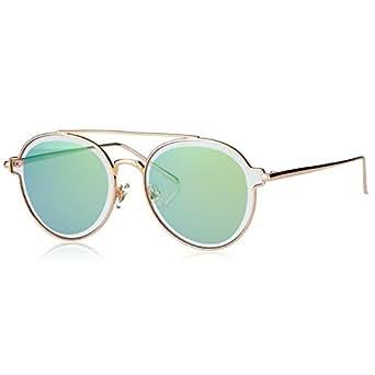 PINGLAS Women Vintage Round Sunglasses Aviator Style Coating Lens Double Bridge Metal Frame, UV400(Yellow)