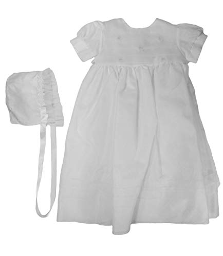 Christening Day Girls' White Organza Overlay Gown with Sheer Flowers 3M