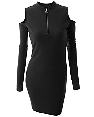 Just For Plus Women's Solid Dress Bodycon Front Zipper Long Sleeve Party Plus Size Knit Slim Fit Black