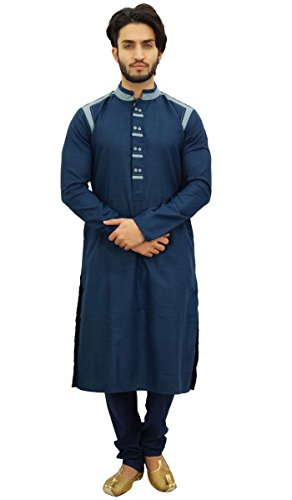 Atasi Men's Designer Ethnic Navy Blue Cotton Kurta Pyjama Set Long (Large Blue Kurta)