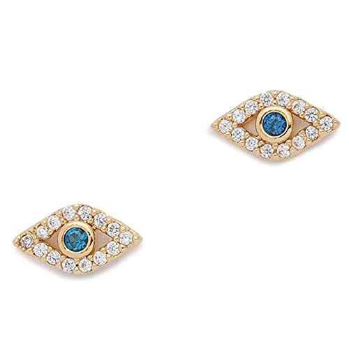 (Unisex 925 Sterling Silver Plated & 18K Gold Plated CZ Fatima's Blue Evil Eye Stud Post Earrings (Gold))