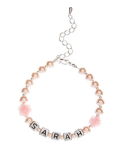 Crystal Dream Personalized Name Pink Czech Glass Pearl Infant Keepsake Bracelet - Names Pink Kids