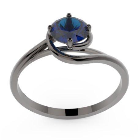 ELYA Bagues Or Noir 18 carats Saphir Bleu 0,6 Rond