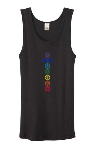 es Yoga 7 Colored Chakras Black Organic Tank Top Medium (Organic Yoga Clothing)