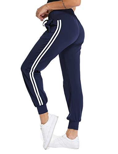 Women's Cuffed Jogger Pants Drawstring Side Stripe Active Workout Yoga Sweatpants Legging with Pockets S Navy]()