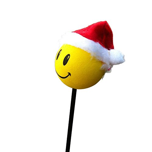 Smiley Faces Christmas - COGEEK Car Antenna Christmas Topper Smiley Face Wool Hat Ball EVA Car Decorative