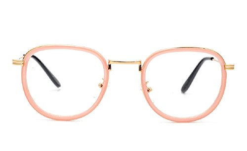 Women's JTS8923 Inset Acetate Rim Metal Round Aviator Eye Glasses (C3-pink, - Shell Ray Aviator Bans Tortoise