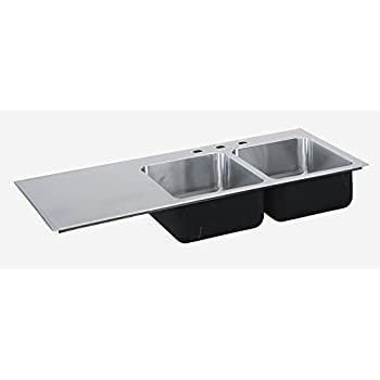 Just Manufacturing SI3049AL3 Just Mfg Sink Insert, Drop In, Double Bowl,  Single Drainboard