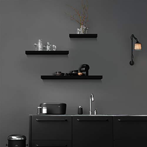 RUNACC Black Floating Shelves for Wall - Set of 3 Wall Mounted Shelf Floating Shelves Home Decorations Ledge Shelves Wide Panel for Living Room Bedroom Storage Bathroom Office Kitchen