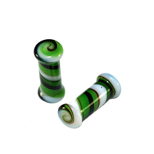 Double Swirl Earrings (Double Flare Green White Swirl Glass Saddle Ear Plugs 6G Gauge 4mm Spiral)