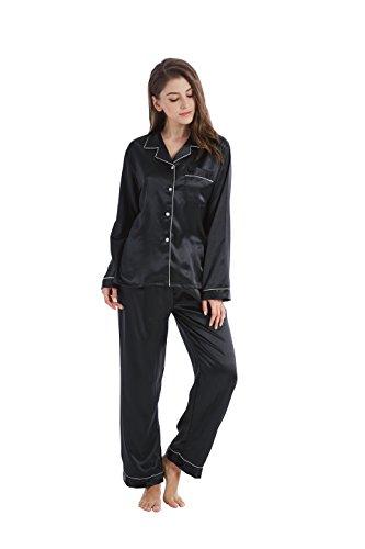 Tailored Womens Pajamas (TONY AND CANDICE Women's Classic Satin Pajama Set Sleepwear Loungewear (Medium, Black With White Piping))