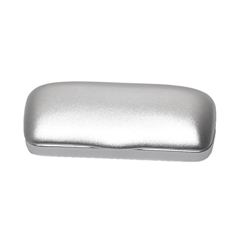 Eyeglasses Case Slim Light Weight Aluminum Matte Hard Metal Spectacles Protects Glasses - for Big Frames - Men & Women (Silver)