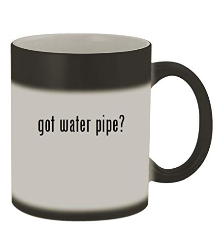got water pipe? - 11oz Color Changing Sturdy Ceramic Coffee Cup Mug, Matte Black (Smoking Bowl Hello Kitty Glass)