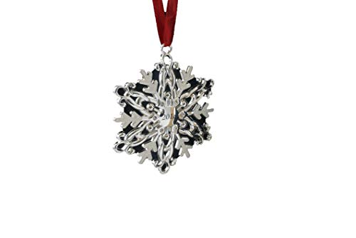 Crystal Holiday Ornament - Gerson Winter Snowflake 2018 Silver Plated Hanging Ornament